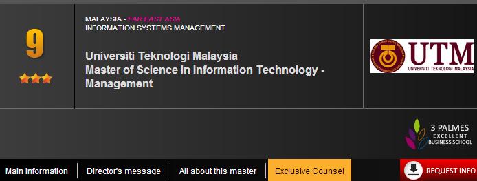 Universiti Teknologi Malaysia  Master of Science in Information Technology - Management